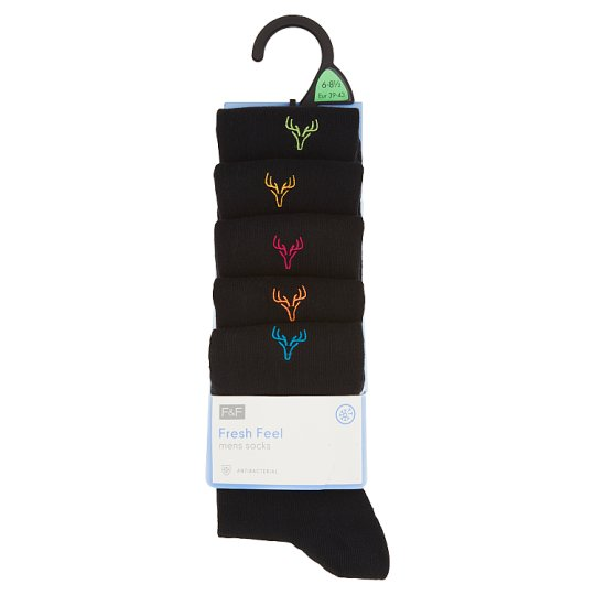 image 1 of F&F Men's Black Socks with Embroidery 5 pcs in Pack, 39-43, Black