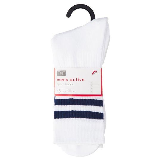 image 1 of F&F Men's White Sports Socks 5 pcs in Pack, 39-43, White