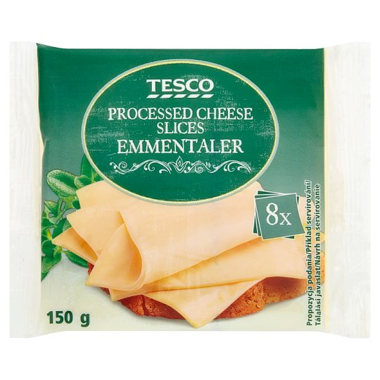 Tesco Processed Cheese Slices Emmentaler 8 x 18.75g