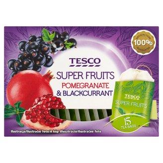 Tesco Super fruits bylinno-ovocný čaj s příchutí černého rybízu a granátového jablka 15 x 2g