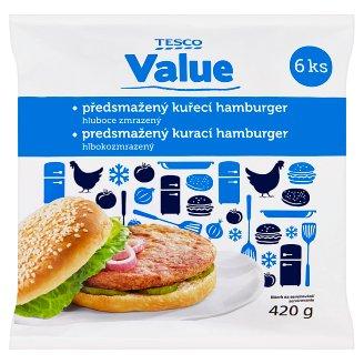 Tesco Value Předsmažený kuřecí hamburger hluboce zmrazený 6 ks 420g