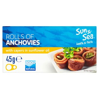 Sun & Sea Rolls of Anchovies with Capers in Sunflower Oil 45g