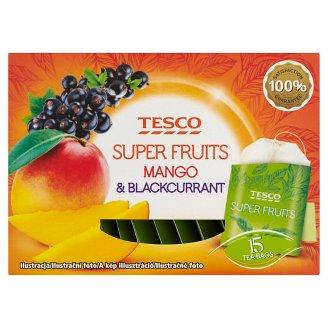 Tesco Super fruits bílý a zelený čaj s příchutí černého rybízu a manga 15 x 1,5g