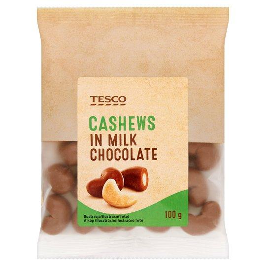 Tesco Kešu ořechy jádra pražená v mléčné čokoládě 100g