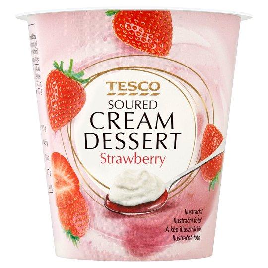 Tesco Soured Cream Dessert Strawberry 130g