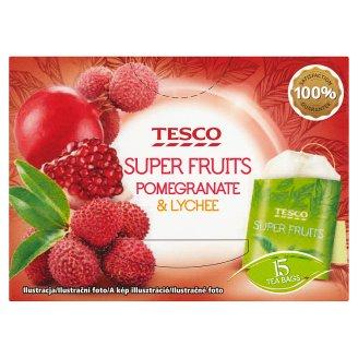 Tesco Super fruits bílý a zelený čaj s příchutí granátového jablka a liči 15 x 1,5g