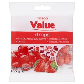 Tesco Value Dropsy s příchutí jahod 100g