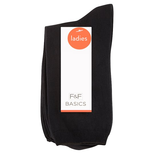 F&F Women's Socks 5 Pieces in Pack, Size S-M 37-39, Black