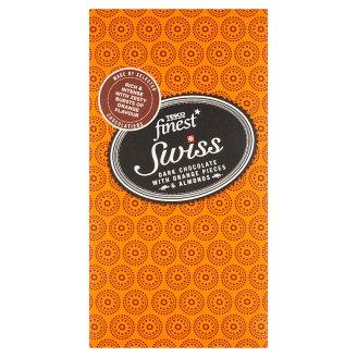 Tesco Finest Swiss hořká čokoláda s pomerančovou příchutí, mandlemi a mletými lískovými ořechy 100g
