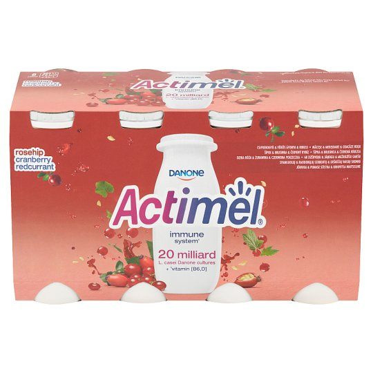 Danone Actimel Jogurtové mléko šípek & brusinka & červený rybíz 8 x 100g