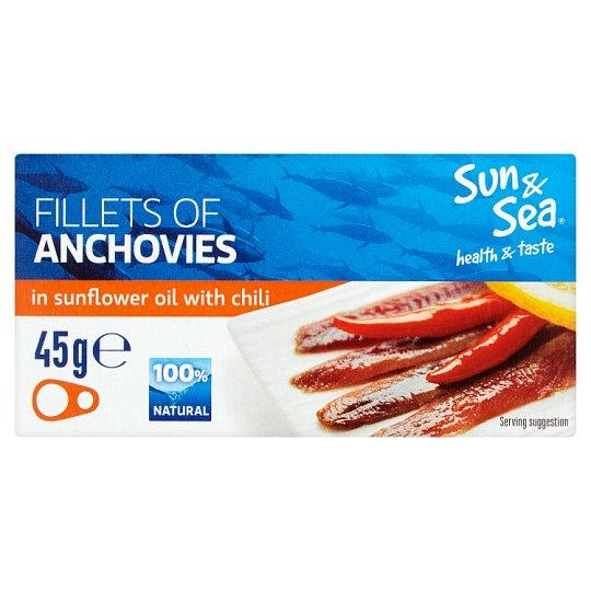 Sun&Sea Sardelové filety ve slunečnicovém oleji s chilli 45g