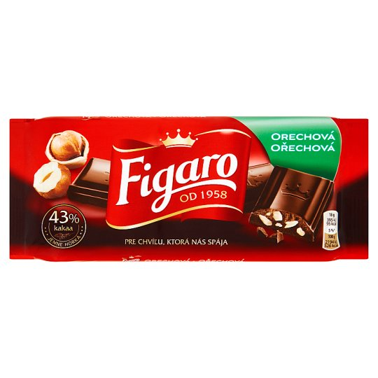 Figaro Dark Chocolate with Crushed Hazelnut Kernels 90g