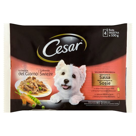 Cesar Selection in Sauce, Beef and Chicken with Vegetables 4 x 100g