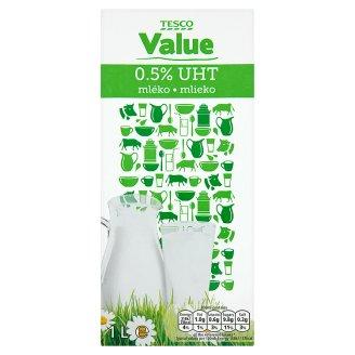 Tesco Value UHT 0.5% Fat Homogenised Milk 1L