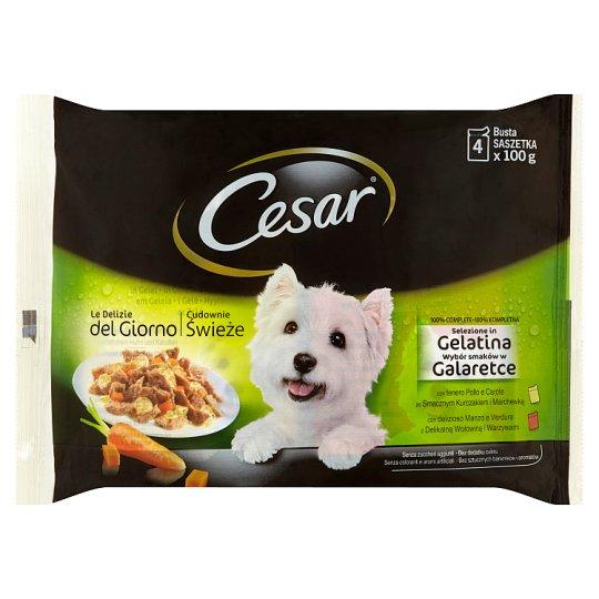 Cesar Výběr v želé, kuřecí a hovězí se zeleninou 4 x 100g