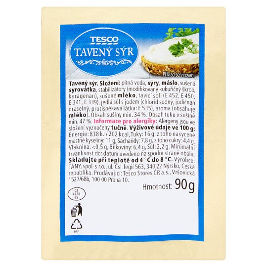 Tesco Processed Cheese 90g