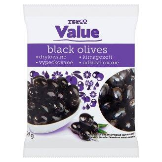 Tesco Value Černé olivy bez pecky ve slaném nálevu 200g