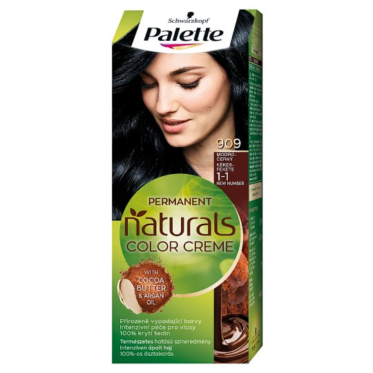 Schwarzkopf Palette Permanent Naturals Color Creme barva na vlasy Modročerný 909 (1-1)