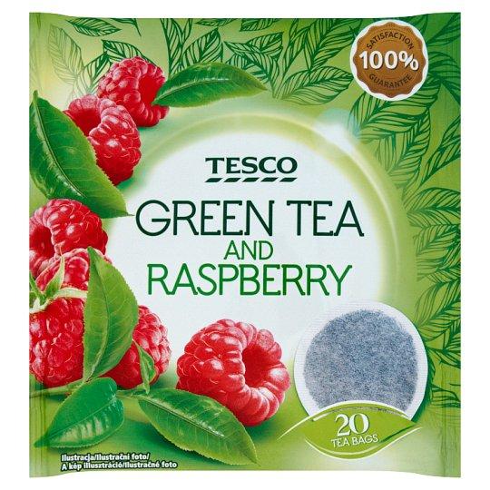Tesco Zelený čaj s malinovou příchutí 20 x 2g