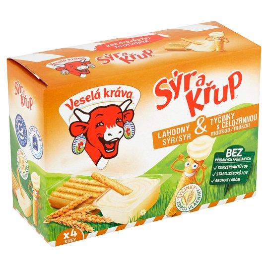 Veselá Kráva Sýr a Křup Delicious Cheese & Sticks with Wholemeal Flour 4 x 35g