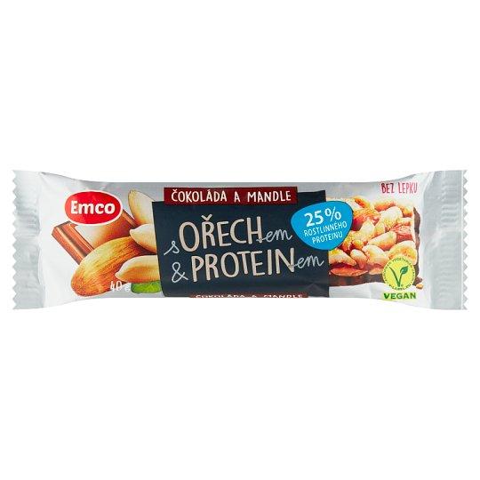 Emco Tyčinka s ořechem & proteinem čokoláda a mandle 40g