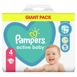 Pampers Diapers Size 4, 76 Nappies, 9-14 kg
