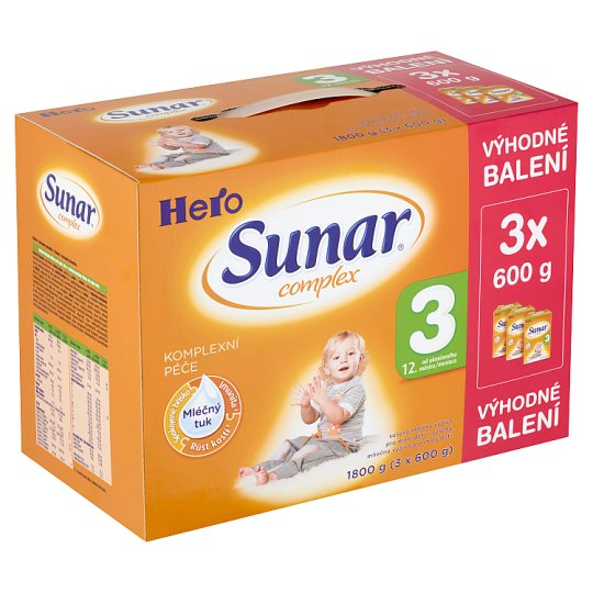 Sunar Complex 3 sušená mléčná výživa pro malé děti 3 x 600g