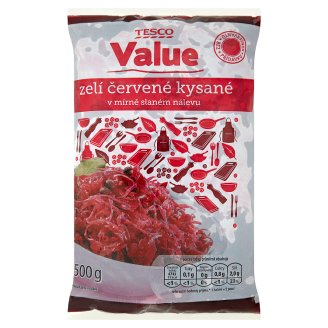 Tesco Value Zelí červené kysané 500g