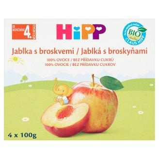 HiPP Bio ovocný příkrm jablka s broskvemi 4 x 100g