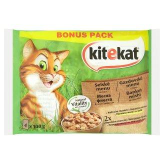 Kitekat Selské menu ve šťávě kompletní krmivo pro dospělé kočky 4 x 100g