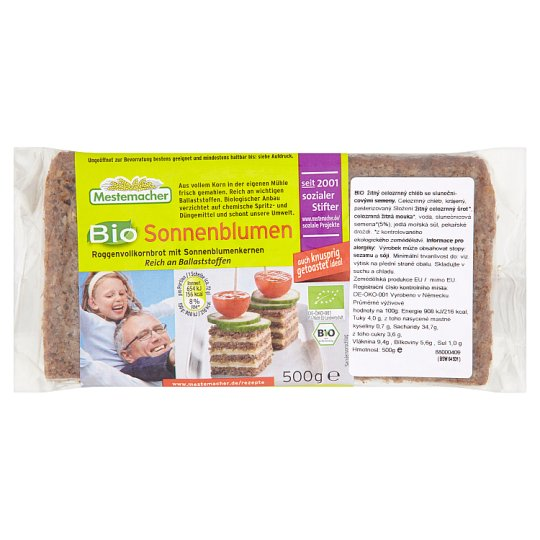 Mestemacher Organic Rye Whole-Grain Bread with Sunflower Seeds 500g