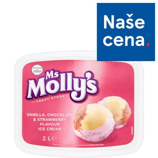 Tesco Ms Molly's Vanilla, Chocolate & Strawberry Flavour Ice Cream 2L