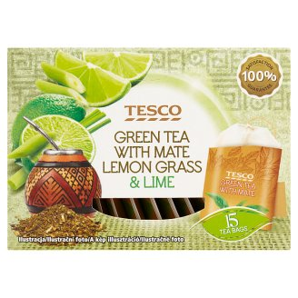 Tesco Zelený čaj s citronovou trávou, maté a limetkovou příchutí 15 x 1,5g