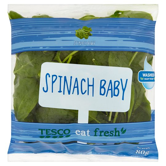 Tesco Eat Fresh Washed Baby Spinach 80g