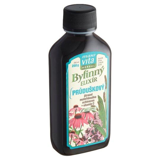 MaxiVita Herbal Bylinný sirup průduškový jitrocel mateřídouška echinacea + vitamin C 200ml