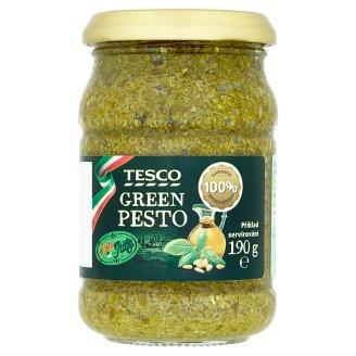 Tesco Pesto z bazalky, polotučného tvrdého sýru, oříšků kešu a piniových oříšků 190g
