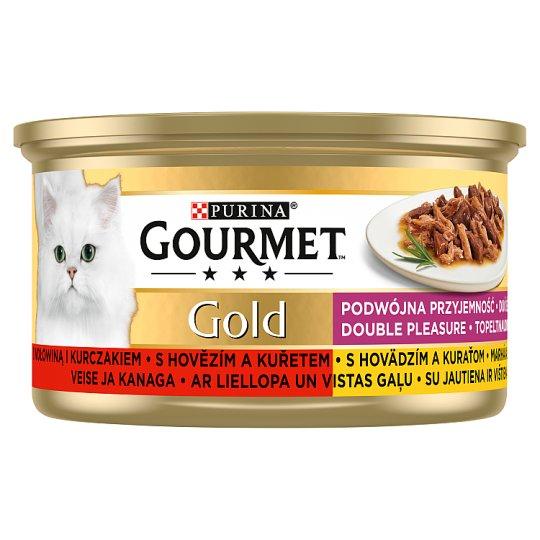 GOURMET Gold Double Pleasure s hovězím a kuřetem 85g