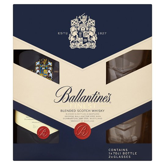 Ballantine's Finest Blended Scotch Whisky 70cl + 2 Glasses