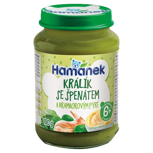 Hamánek Králík se špenátem a bramborem 190g