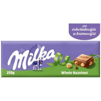 Milka Mléčná čokoláda z alpského mléka s celými jádry lískových ořechů 250g