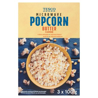 Tesco Popcorn do mikrovlnné trouby s máslovou příchutí 3 x 100g