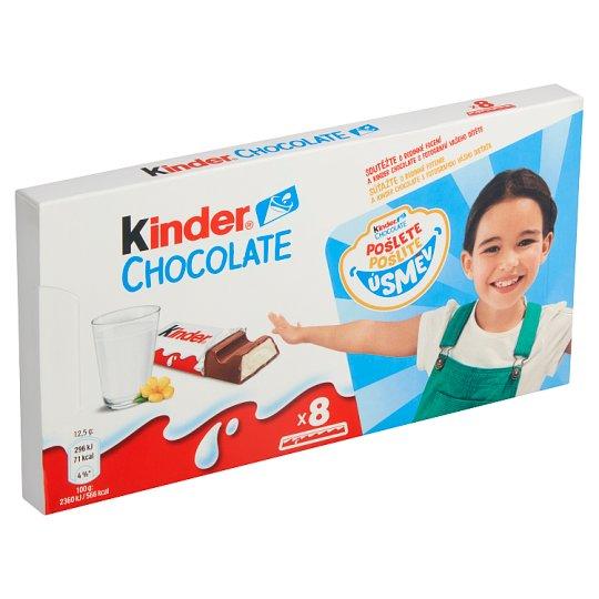 Kinder Chocolate milk Chocolate Bars with Milk Filling 8 x 12.5g