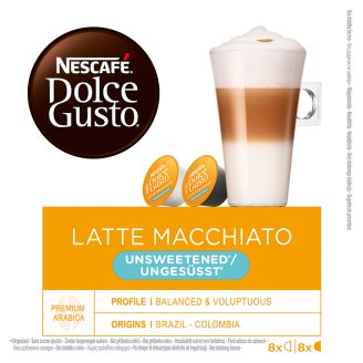 NESCAFÉ® Dolce Gusto® Latte Macchiato Unsweetened - kávové kapsle - 16 kapslí v balení