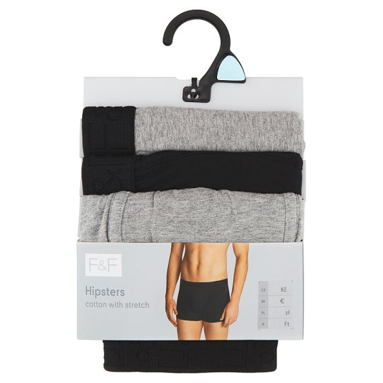 image 1 of F&F Men's Black-Gray Boxers with a Reduced Waist 3 pcs in Pack, M, Black