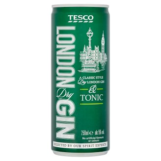 Tesco London Dry Gin & Tonic 250ml