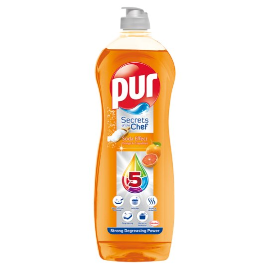 Pur Secrets of the Chef Soda Effect Orange & Grapefruit Liquid Detergent for Dishes 900ml