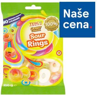 Tesco Candy Carnival Sour rings želé s ovocnou příchutí s kyselou cukrovou posypkou 100g