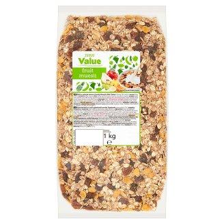 Tesco Value Müsli se sušeným ovocem a kousky lískových oříšků 1kg