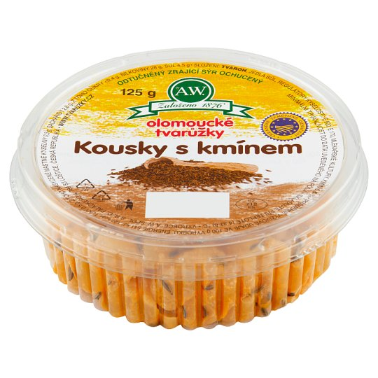 A.W. Olomouc Ripened Cheese Fat Free Pieces with Cumin 125g