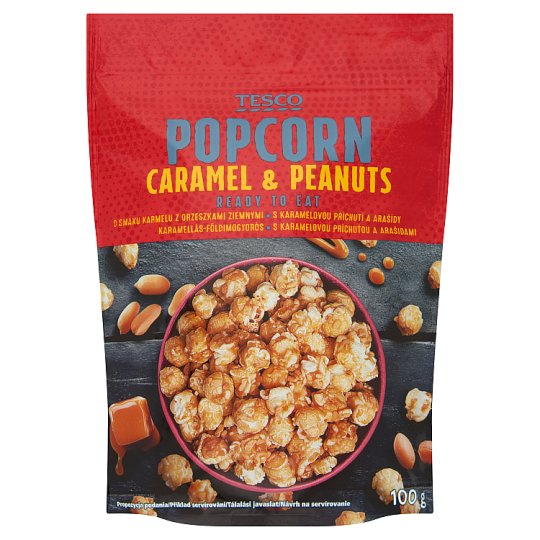 Tesco Ready to Eat Caramel & Peanuts Popcorn 100g